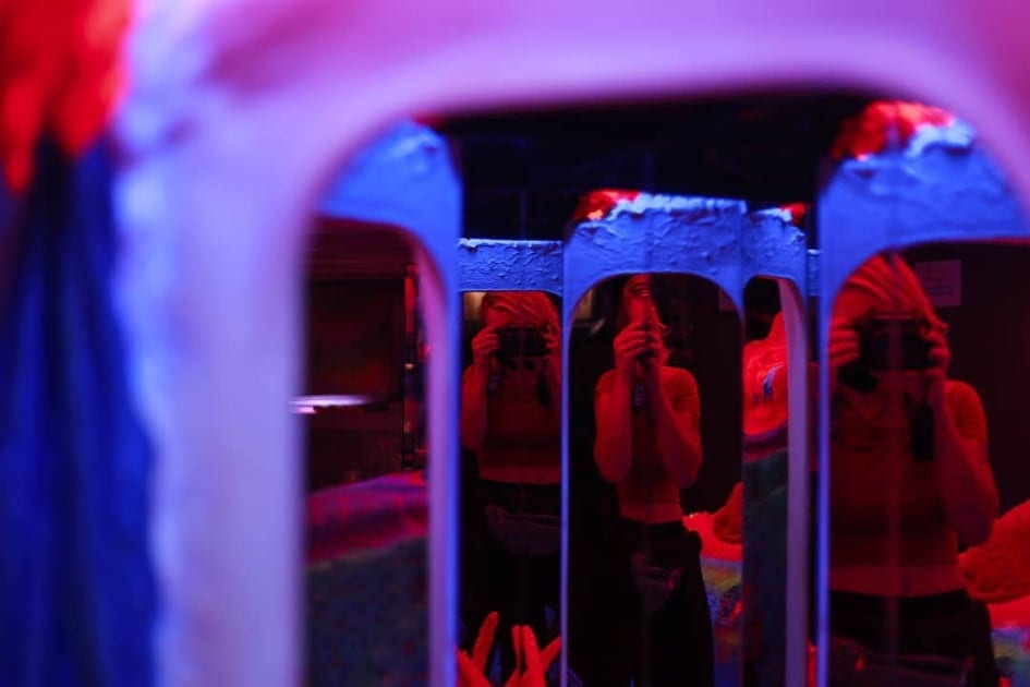 Deep bluish-purple and red fluorescent lights at the Electric Lady museum in Amsterdam.