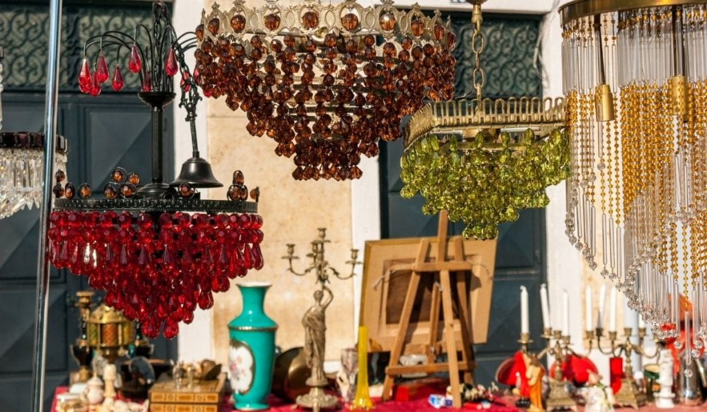 Random items and goodies for sale at Feira da Ladra in Lisbon, Portugal.