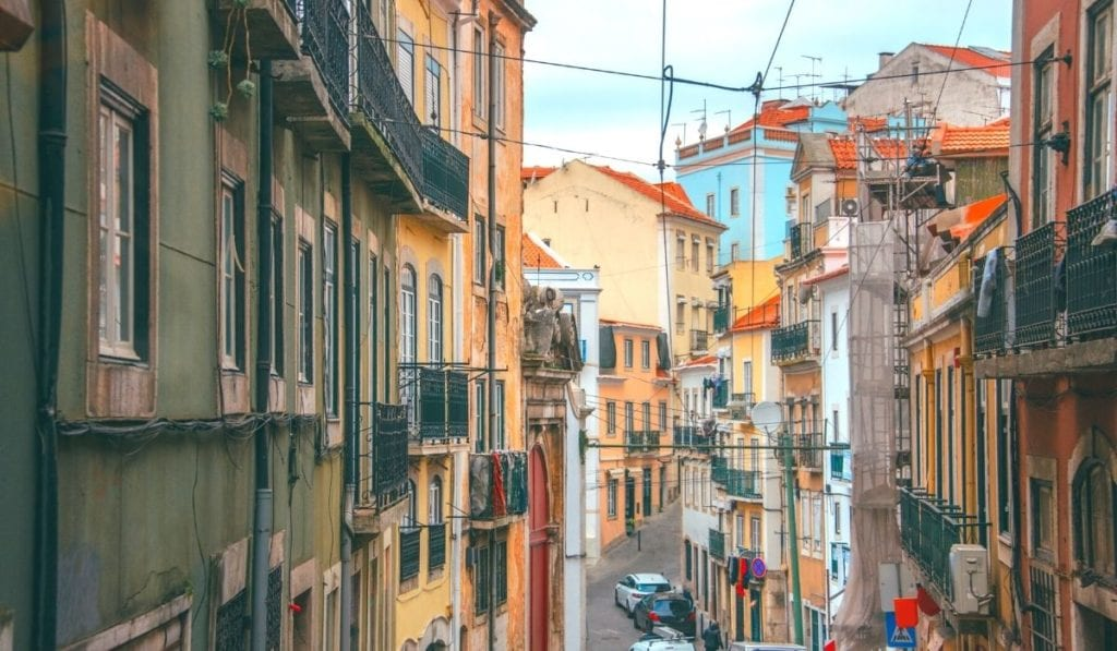 One of Lisbon's many hilly streets - walking around the city on a free walking tour is one of the best things to do in Lisbon.