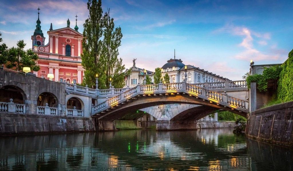 Beautiful bridge crossing a river in Ljubljana, Slovenia