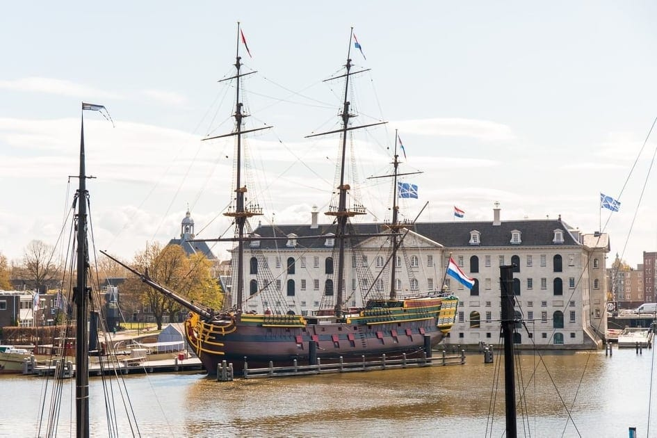 Old model ship outside the Maritime Museum in Amsterdam.