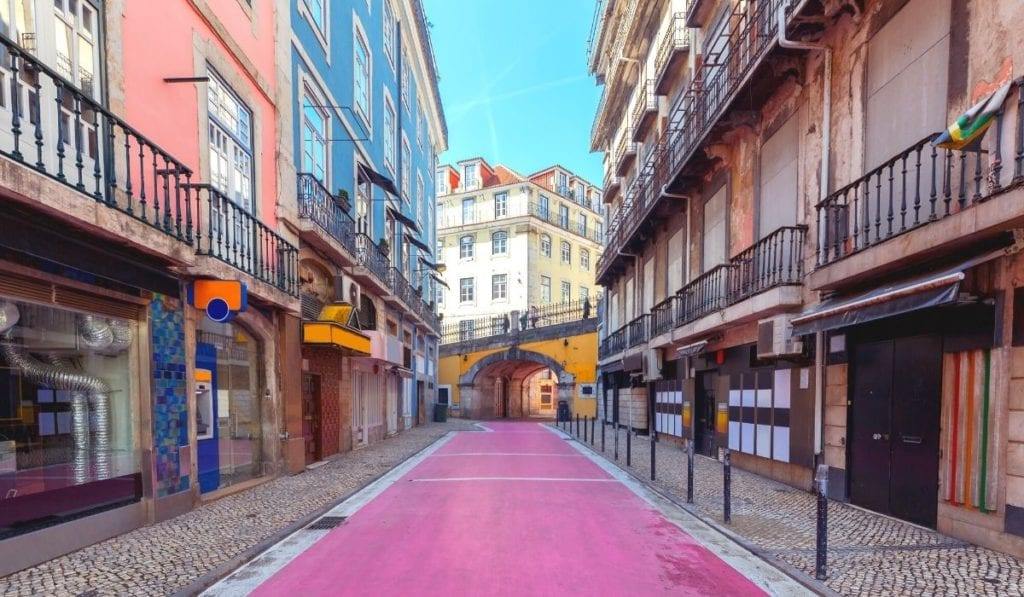 Lisbon's famous Pink Street, a great party location in Portugal's capital city.
