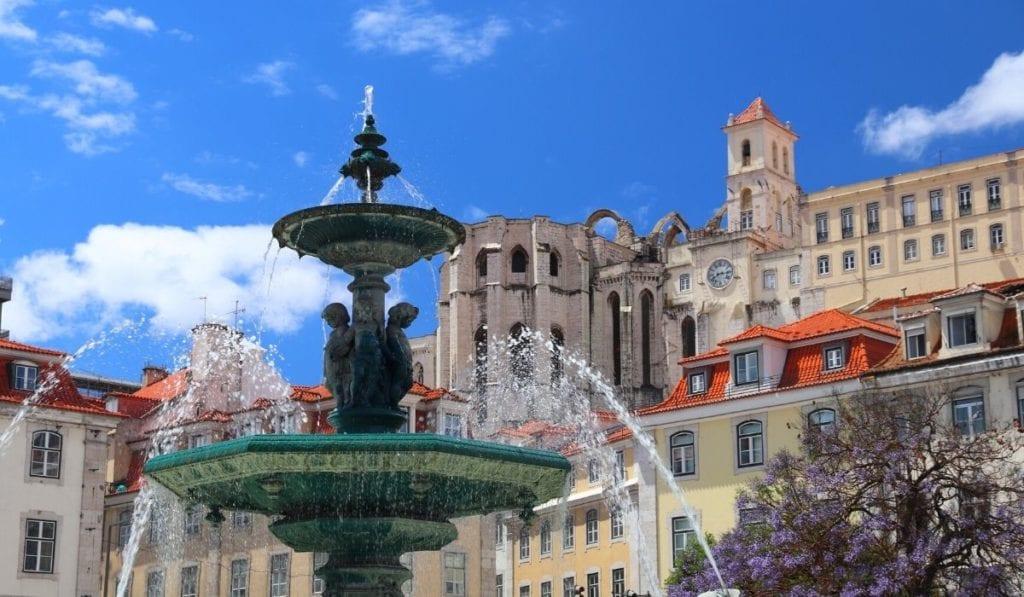The Baroque fountain in Rossio Square, Lisbon, Portugal.
