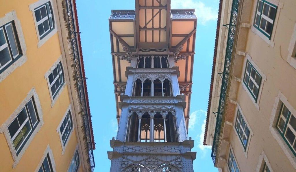 Looking up at the Santa Justa lift in Lisbon, Portugal.
