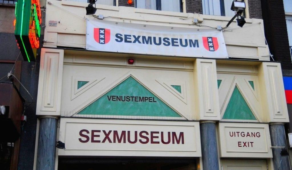 Exterior façade of the Sexmuseum in Amsterdam.