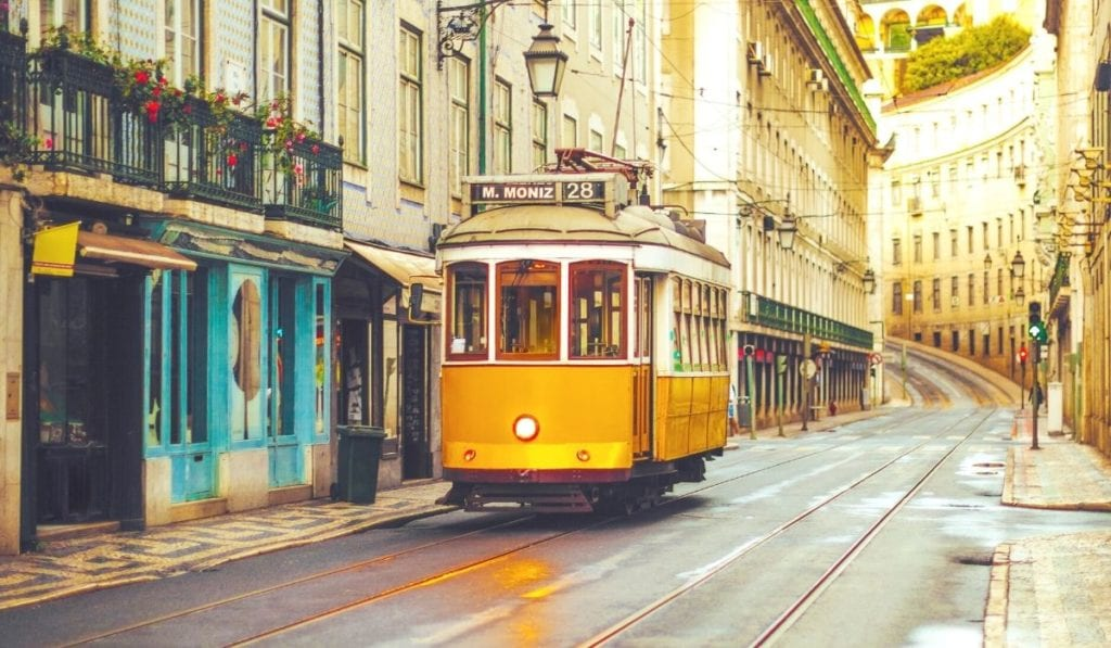Famous yellow Tram 28 in Lisbon, Portugal.