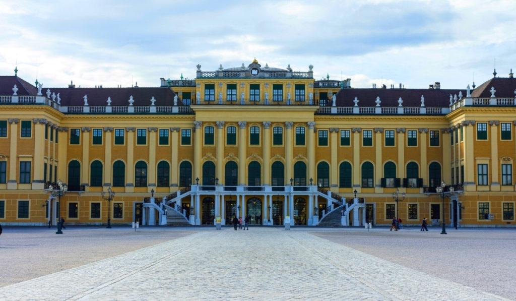 Yellow façade of Schönbrunn Palace in Vienna.