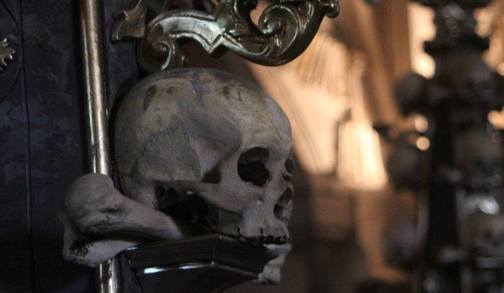 Close-up of skull at Sedlec Ossuary, outside Prague, CZ.
