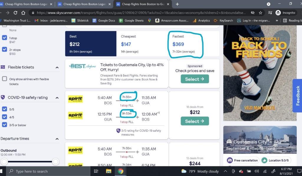 Screenshot of flight offerings on Skyscanner.