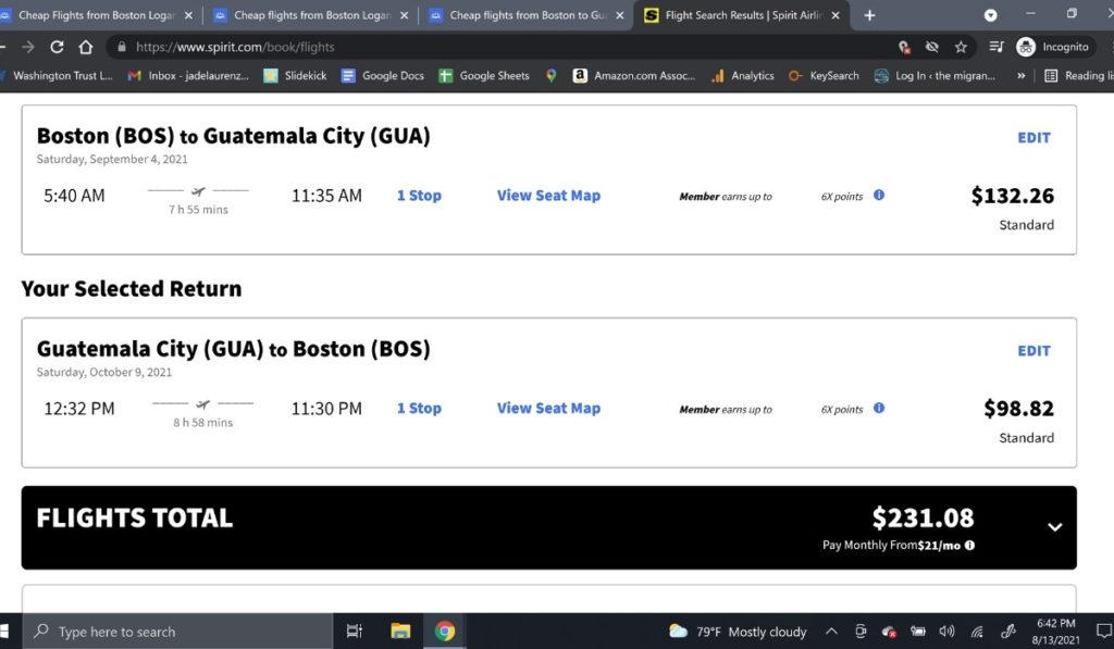 Screenshot of flight itinerary on Spirit Airlines website.