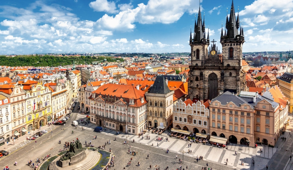 View of Prague's Old Town Square from above.