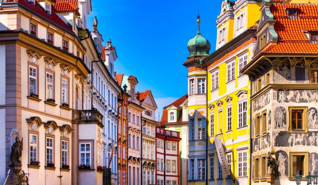 Brightly colored buildings in Prague
