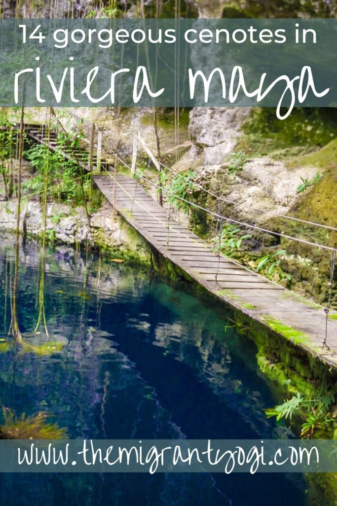 Pinterest graphic - 14 gorgeous cenotes to visit in Riviera Maya