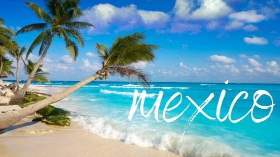 Mexican beach with 'Mexico' text