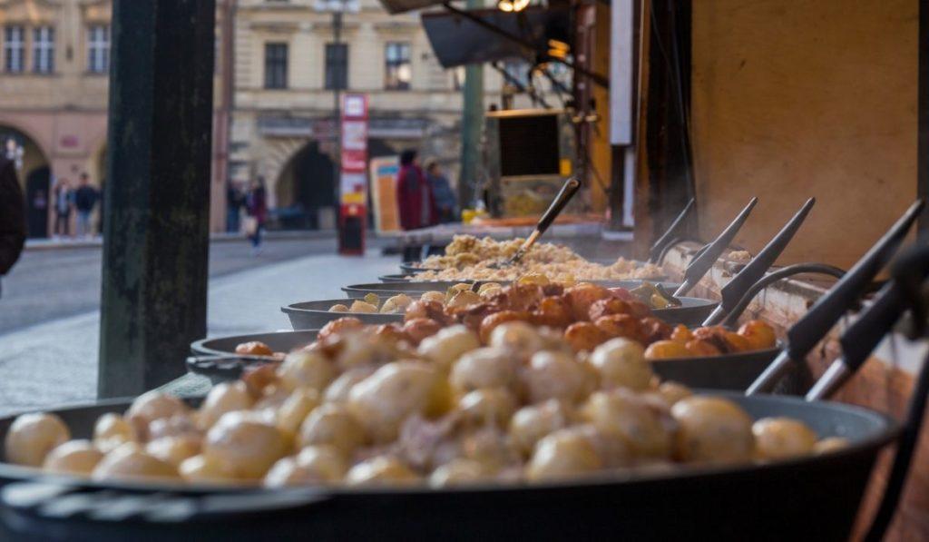 Steaming street food in Prague, Czechia.