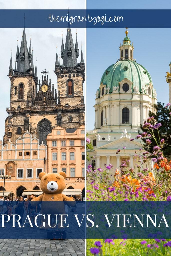 Pinterest graphic - Prague vs. Vienna