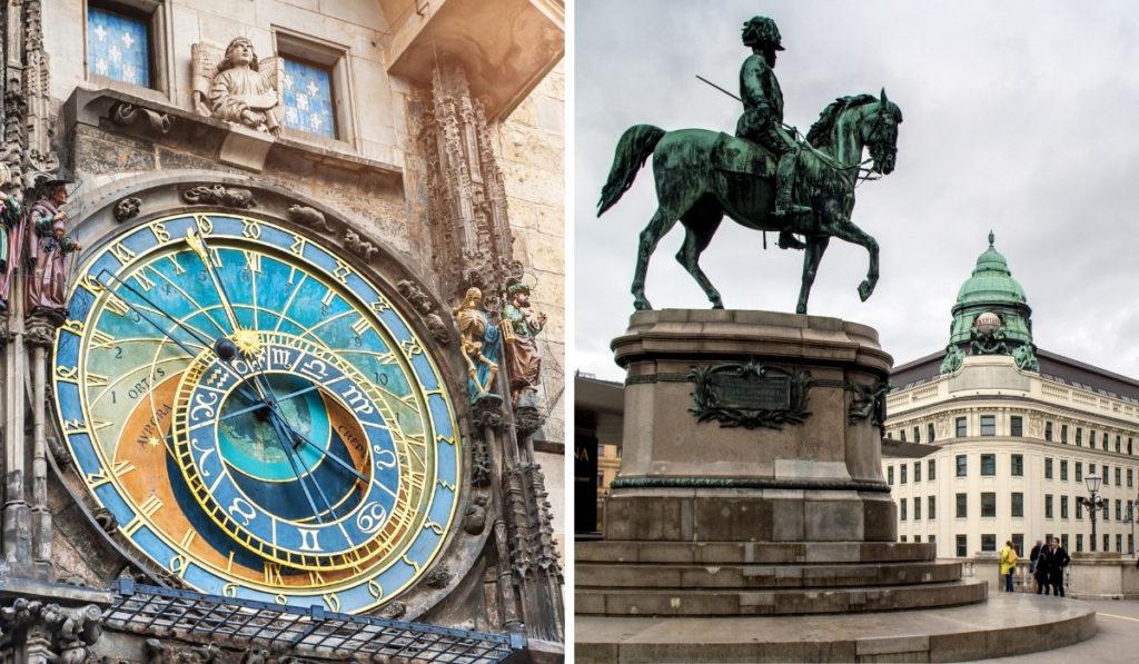 Prague astronomical clock next to Vienna's Hofburg Palace
