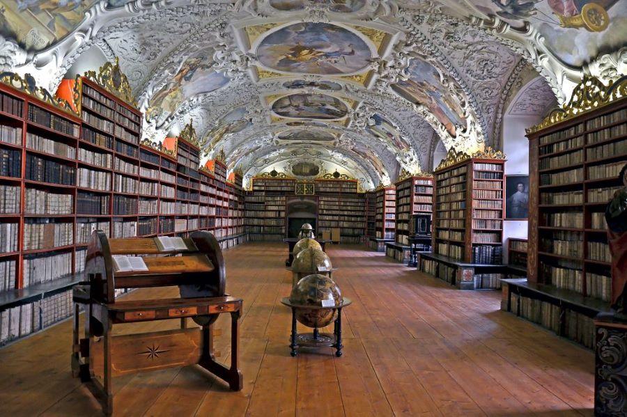 Interior of the Strahov Library, a hidden gem in Prague.