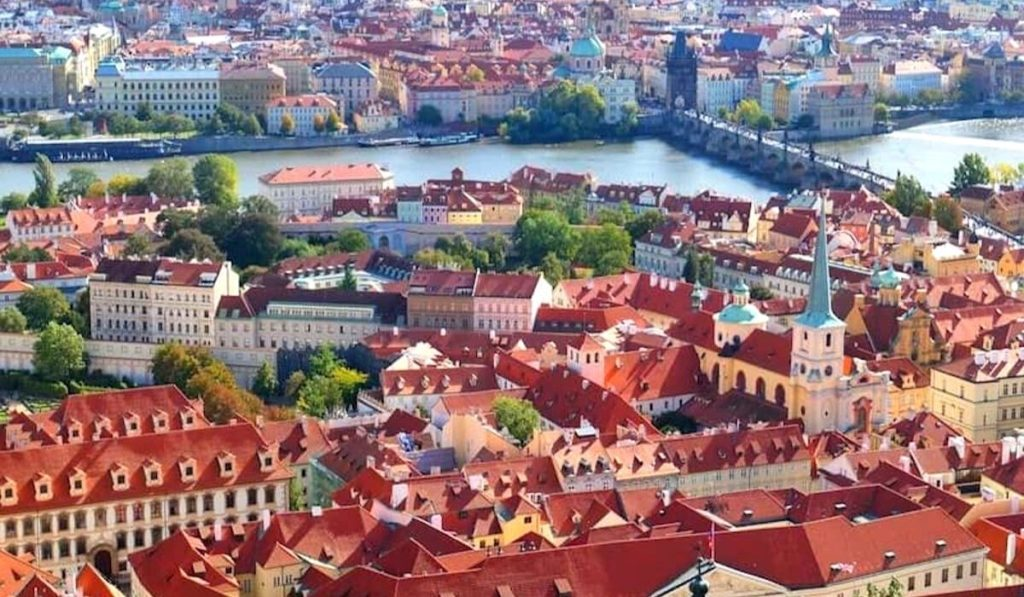 View of Prague from St. Vitus Cathedral, one of the hidden gems in Prague.